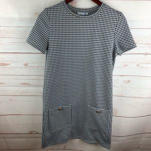 Zara | Herringbone Black White Shift Dress